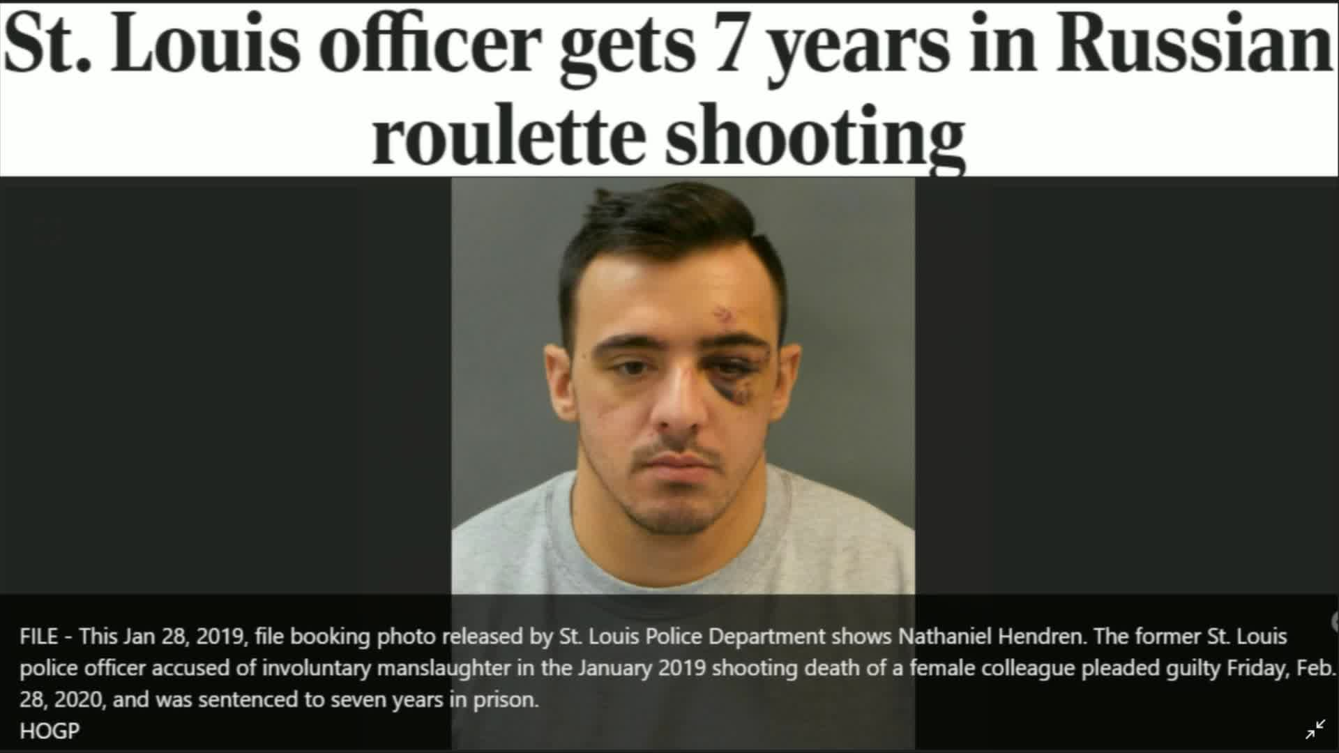 Saint Louis officer gets 7 years in Russian roulette shooting.
