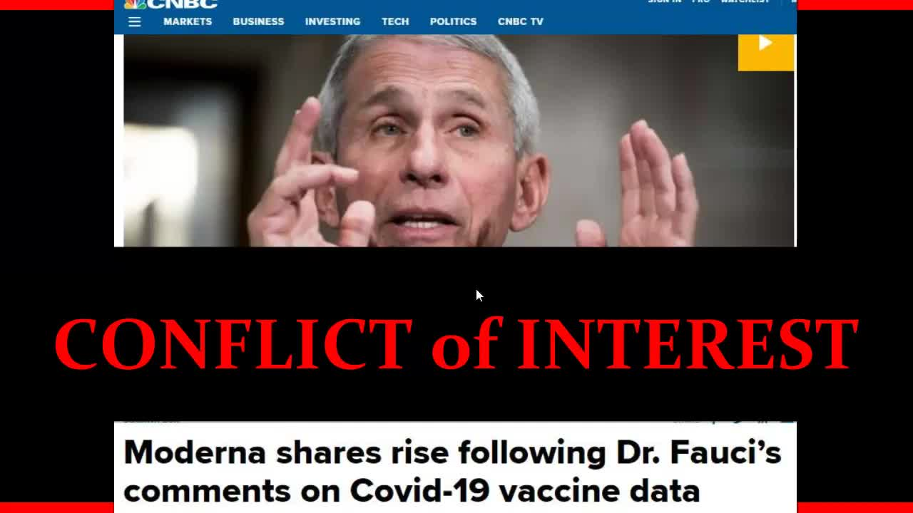 Dr. Fauci's  Conflict of Interest and Moderna's Four Executive's $30,000,000 Stock Option Sell Off[720P]